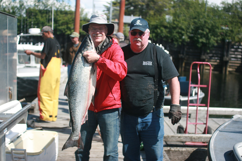 Sheldon with a 40.5 # chinook salmon, largest he's ever caught!  Guide is Brent Johnston.