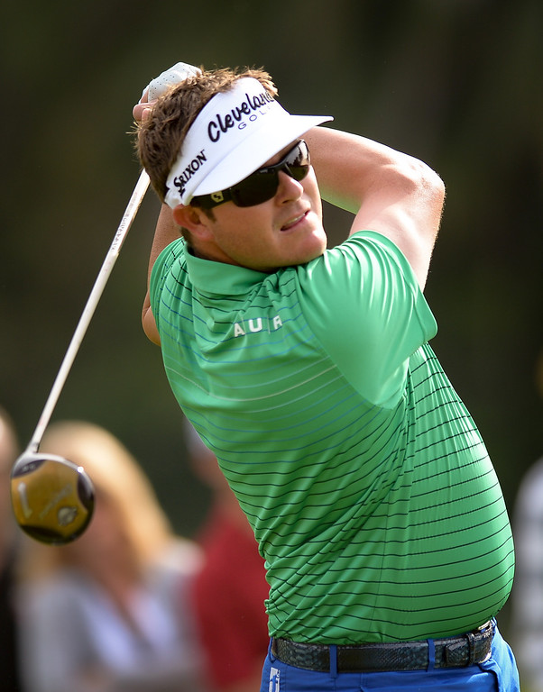 . Charlie Beljan tees off from the second hole during the third round of the Northern Trust Open, Saturday, February 15, 2014, at Riviera Country Club. Beljan is tied for second place. (Photo by Michael Owen Baker/L.A. Daily News)
