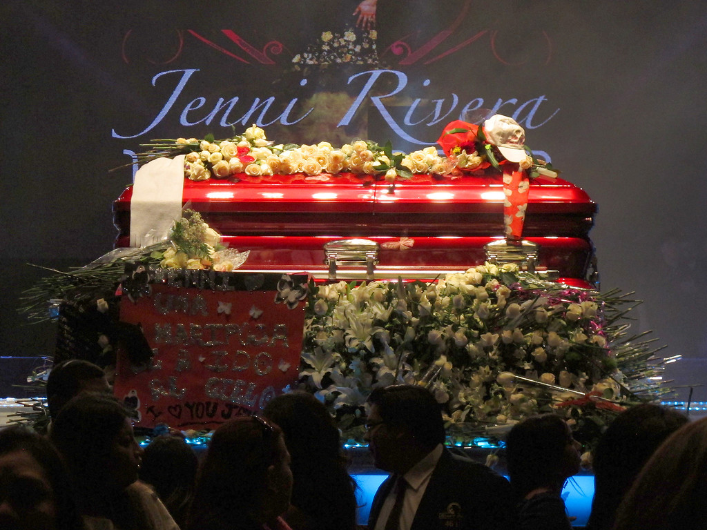 . The casket of Jenni Rivera following her memorial service at the Gibson Amphitheatre Wednesday, December 19, 2012, in Universal City. (Michael Owen Baker/Los Angeles Daily News)