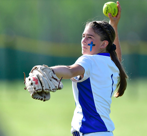 6/8/2019 Mike Orazzi | Staff Southington's Kelsey Fernandez (1) during Saturday's Class LL Softball Final at DeLuca Field in Stratford.