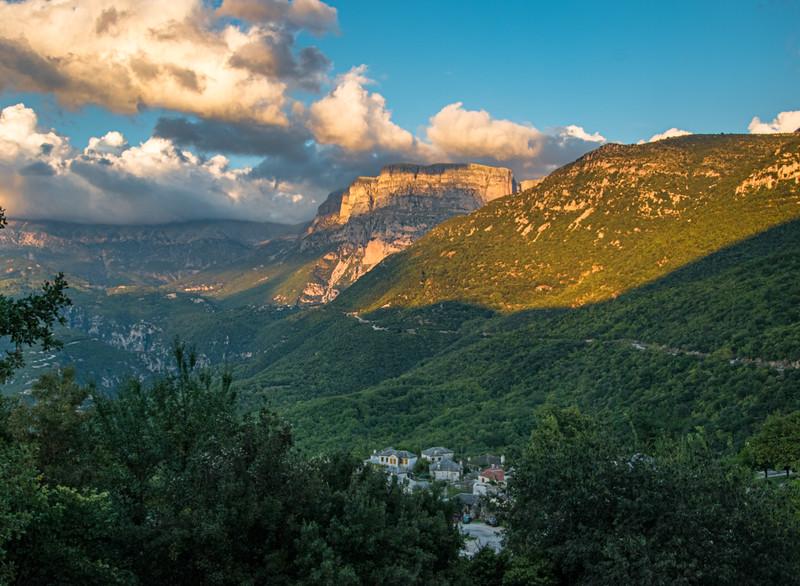 Zagoria Region:  View of Aristi from hotel