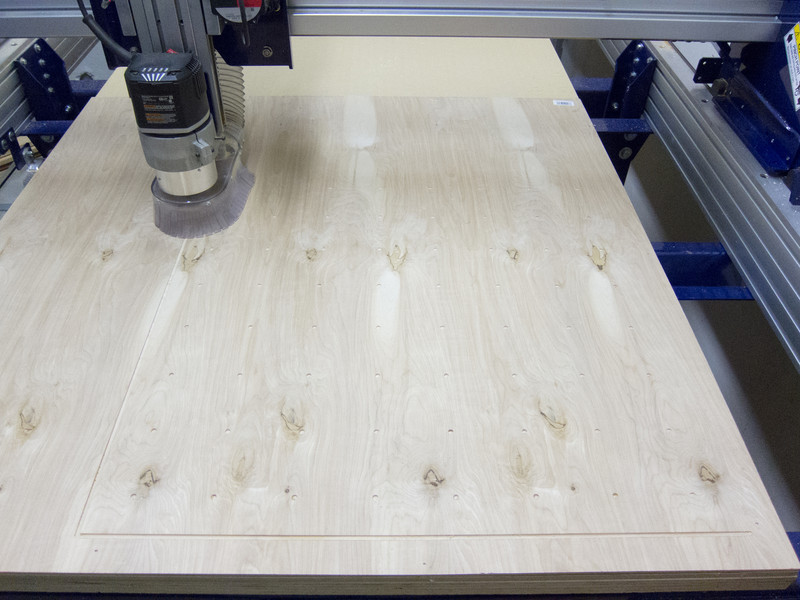 "Machining a prototype of the back panel in 1/4"" Birch Plywood"