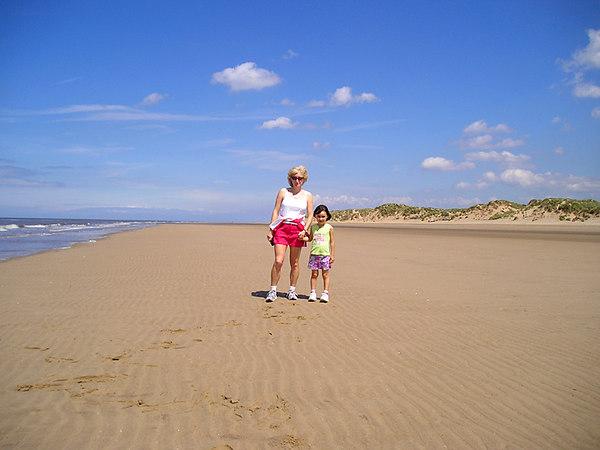 Lizzie and Sammy by the Irish sea.
