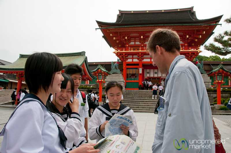Dan with School Kids at Fushimi Inari Shrine - Kyoto, Japan