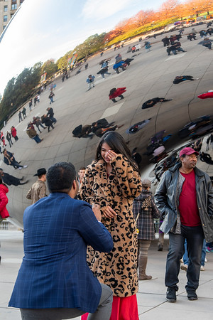 Bens beautiful surprise proposal at The Bean Chicago.