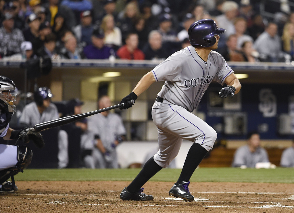. SAN DIEGO, CA - APRIL 16:  Jorge De La Rosa #29 of the Colorado Rockies hits a single during the fifth inning of a baseball game against the San Diego Padres at Petco Park April 16, 2014 in San Diego, California.  (Photo by Denis Poroy/Getty Images)