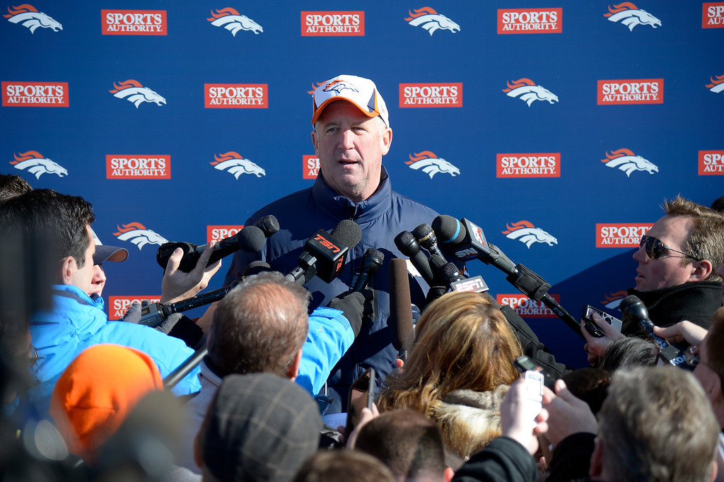 . Denver Broncos head coach John Fox meets with the media after practice January 23, 2014 at Dove Valley.  (Photo by John Leyba/The Denver Post)
