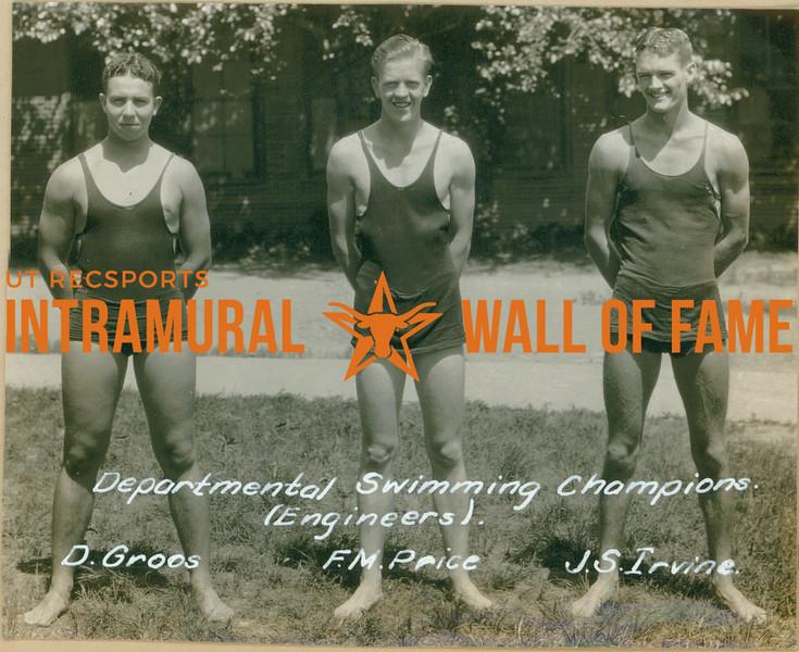 SWIMMING Departmental Champions  Engineers  D. Groos, F. M. Price & J. S. Irvine
