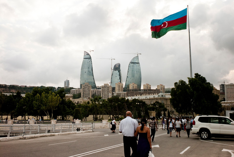 August 2011, Baku, Azerbaijan: Cityscape of Baku.   Since the flow of money has poured into Baku thanks to the Baku Tbilisi Ceyhan (BTC) oil pipeline, the Azeri capital has gone through intensive redevelopment.  However human rights organisations criticise the way in which inhabitants of old Baku have been forcefully evicted from homes earmarked for demolition with inadequate compensation.