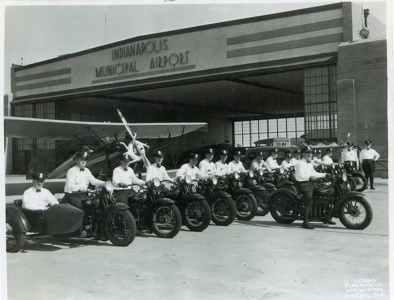 IPD Motorcycles at Indianapolis Municipal Airport 1930s