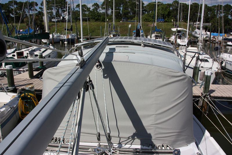 TUIT canvas dodger and bimini and solar panels.JPG