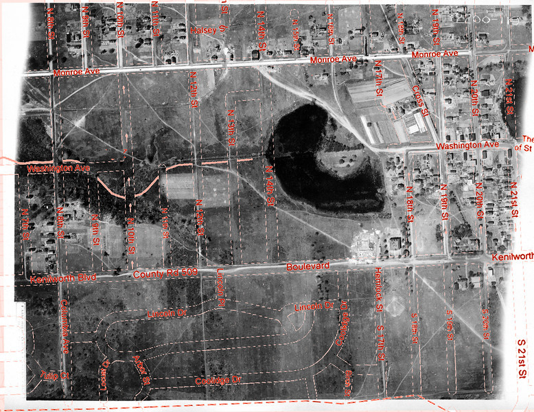 1923 Aerial Photo of Kenilworth with current street info overlay. This is a high resolution photo that can be downloaded and enlarged to show great detail. Many of the structures in this photo still stand today. The newly built foundation of the Harding School can be seen if zoomed in.