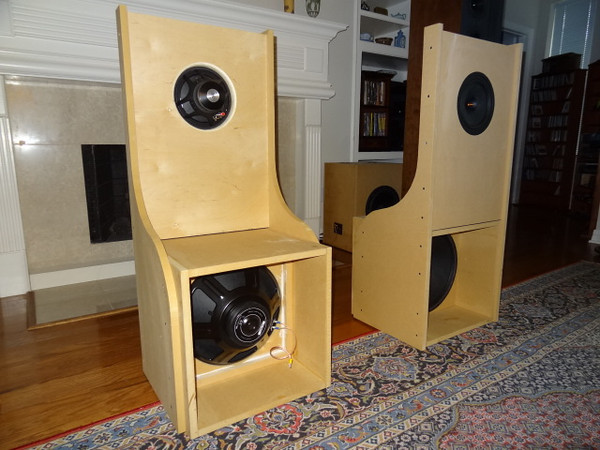 """Shown under construction, an open back design featuring 8"""" Dayton Audio PS220-8 Point Source Full-Range Neo Driver with a 15"""" H-frame eminence Alpha 15 subwoofer, using a 100 watt plate amp for each sub."""