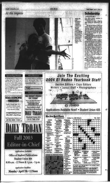 Daily Trojan, Vol. 148, No. 48, April 04, 2003