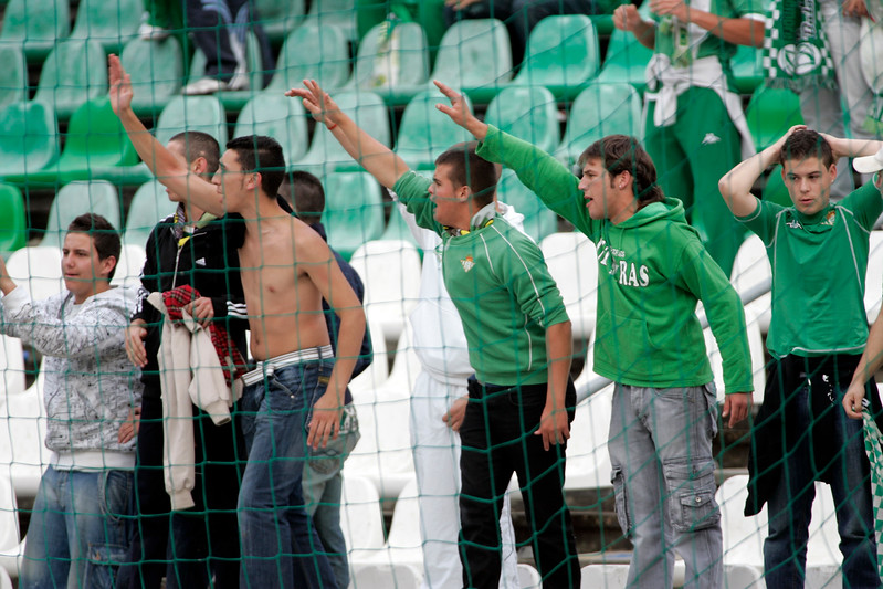 Real Betis fans shouting at Sevilla FC players. Taken before the local derby between Real Betis and Sevilla FC which took place at Ruiz de Lopera stadium, Seville, Spain, on 11 May 2008.