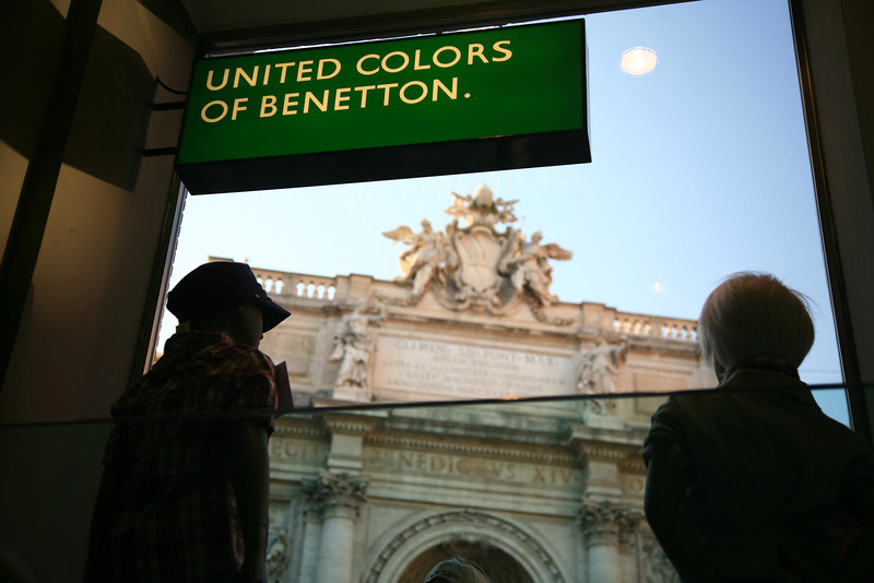 Fortunately across from the fountain there was a Benetton to duck into.