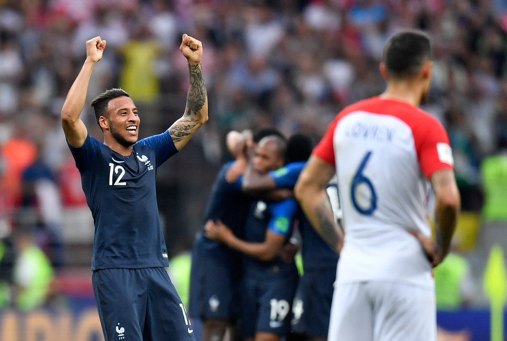 . France\'s Corentin Tolisso celebrates after winning 4-2 during the final match between France and Croatia at the 2018 soccer World Cup in the Luzhniki Stadium in Moscow, Russia, Sunday, July 15, 2018. (AP Photo/Martin Meissner)