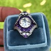 2.27ct (est) Art Deco Old European Cut Diamond with Amethyst Halo Ring 9