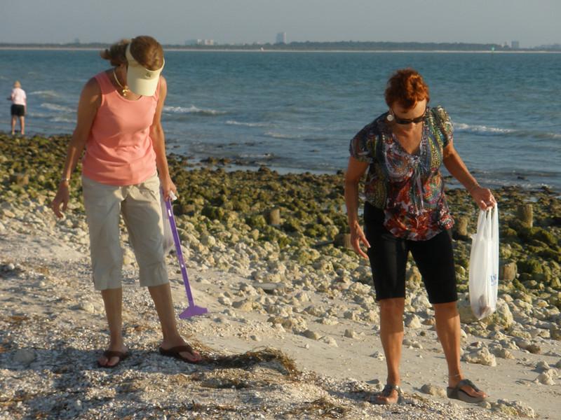 Charlotte Sarafolean and Vadis searching for shells on Honeymoon Island