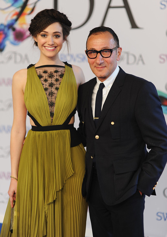 . Actress Emmy Rossum (L) and designer Gilles Mendel attend the 2014 CFDA fashion awards at Alice Tully Hall, Lincoln Center on June 2, 2014 in New York City.  (Photo by Dimitrios Kambouris/Getty Images)