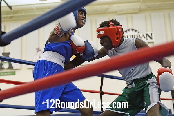 Bout # 12:  Tyshawn Denson, Red Gloves   vs   Anthony Thompkins, Blue Gloves  -  114 Lbs.