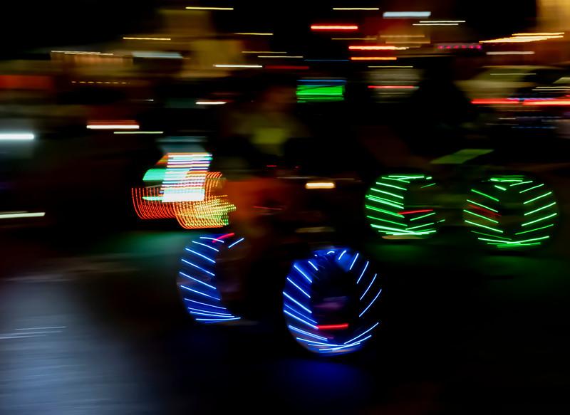 Bike lights in motion