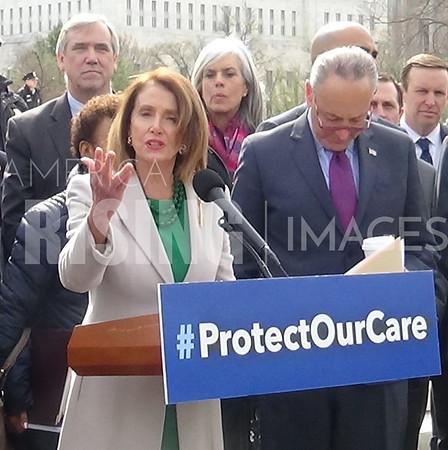 Pelosi, Schumer, Allred, and Shaheen at Supreme Court Health Care Presser in Washington, DC