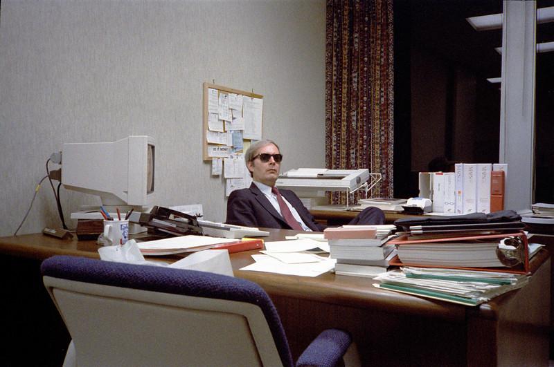 Pat ruined his eyes staring at all those CRT's.  Ca. May, 1986.