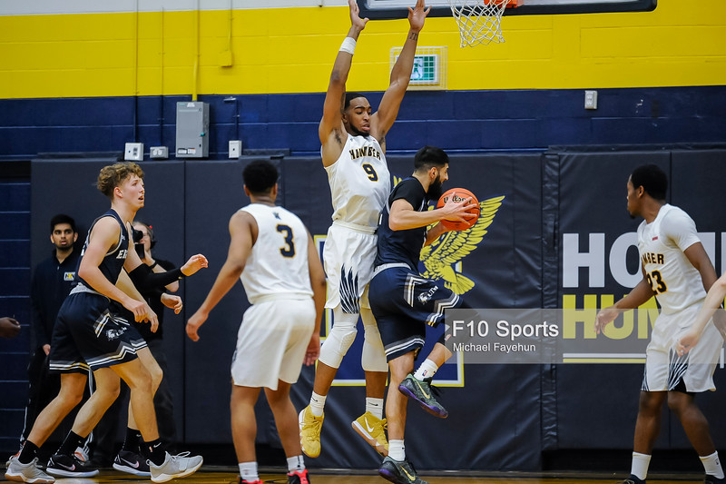 TORONTO, CANADA - Jan 16: during OCCA Mens Basketball Matchup between WBB Humber Hawks vs UTM Eagles at Humber Hawks Athletics Center. Photo: Michael Fayehun/F10 Sports Photography