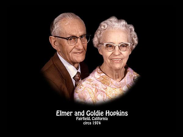 Elmer and Goldie Hopkins, Fairfield, California in 1974.