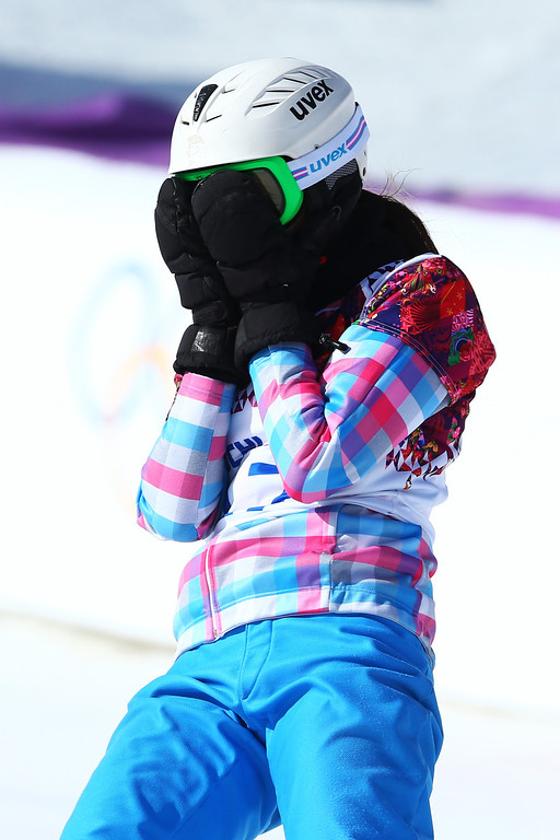 . SOCHI, RUSSIA - FEBRUARY 22:  Natalia Soboleva of Russia reacts in the Snowboard Ladies\' Parallel Slalom 1/8 Finals on day 15 of the 2014 Winter Olympics at Rosa Khutor Extreme Park on February 22, 2014 in Sochi, Russia.  (Photo by Cameron Spencer/Getty Images)