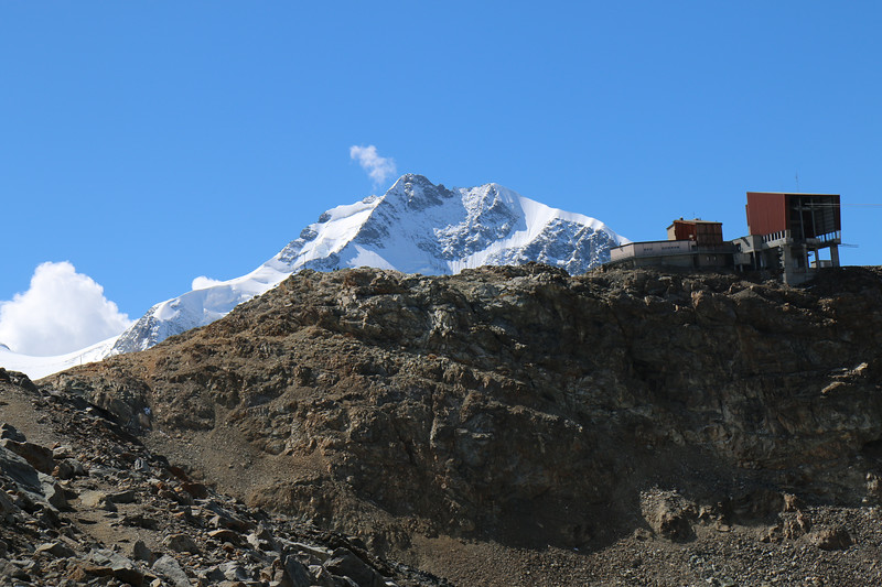 Piz Bernina behind the Diavolezza cable car station