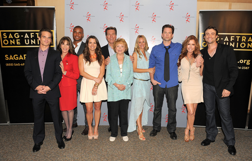 ". Actors Greg Rikaart, Kate Linder, Redaric Williams, Melissa Claire Egan, Peter Bergman, co-creator Lee Phillips Bell, Sharon Case, Michael Muhney, Tracey E. Bregman and Daniel Goddard attend the 40 years of ""The Young and The Restless\"" celebration presented by SAG-AFTRA at SAG-AFTRA on June 4, 2013 in Los Angeles, California.  (Photo by Angela Weiss/Getty Images)"