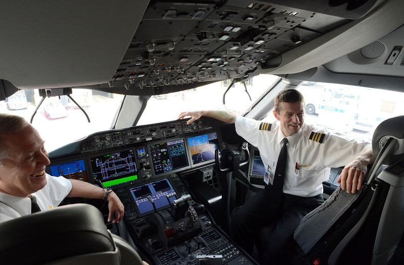 . United Airlines Captain Steve Kastner, left, and First Officer Michael McCann talk about the cockpit of the 787 Dreamliner at Denver International Airport on Thursday, Nov. 29, 2012. By March, the new jet is scheduled to begin flying between Denver International Airport and Japan\'s Narita International Airport. Craig F. Walker, The Denver Post