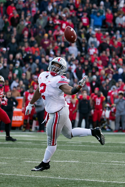 Ohio State RB #2 J.K. Dobbins reaches for a pass just out of his grasp