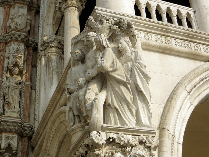 I photographed this sculpture on the corner of the building because it seemed so dramatic.  After I got home I tried to find it on Google.  Apparently it depicts the judgment of King Solomon (the two women who  both claimed to be the mother of an infant).
