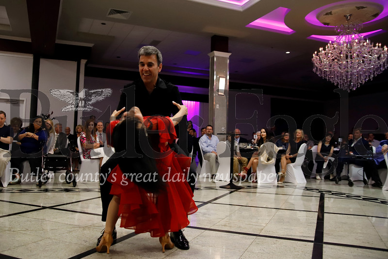 Dr. Dean Balouris and his dance coach Luanne O'Brien (spelled without apostrophe in program and on linkd In, not on dance website and other media) dance merengue. The pair earned a perfect score from the judges. Seb Foltz/Butler Eagle