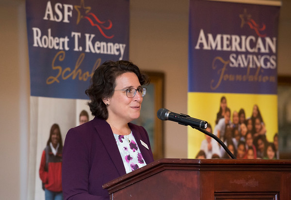 08/07/19 Wesley Bunnell | Staff The American Savings Foundation held their annual dinner on Wednesday August 8, 2019 at the Aqua Turf in Southington to honor the 281 recipients of the Robert T. Kennedy Scholarship awarded by the foundation. President and CEO Maria Falvo addresses the audience.