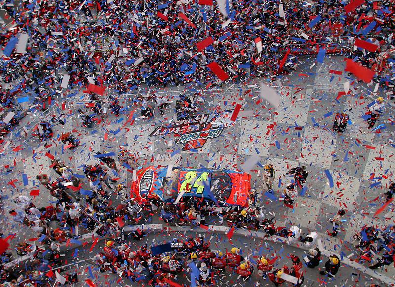 . NASCAR driver Jeff Gordon and his crew celebrate in Victory Lane following his win in the Daytona 500 at the Daytona International Speedway in Daytona Beach, Fla., on Sunday, Feb. 20, 2005. (AP Photo/Bob Jordan)