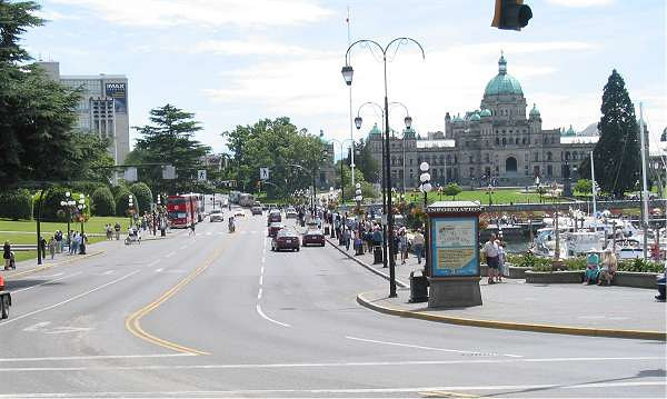 Royal Victoria Marathon Landmarks - 1999 Course - Looking back down Government St. towards the start/finish area