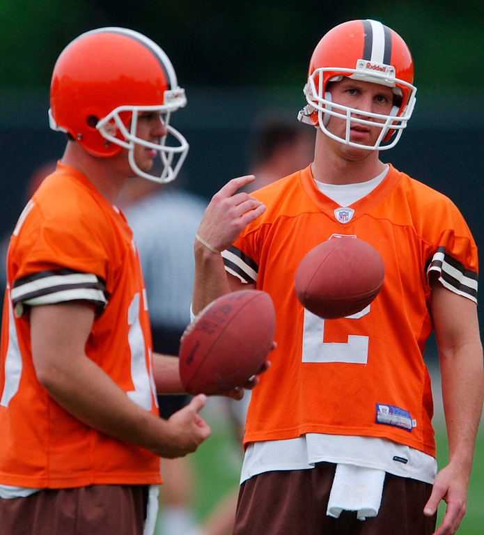 . News-Herald file Browns\' minicamp started in Berea yesterday with the quarterback controversy in full gear. Kelly Holcomb, left, hopes to replace Tim Couch as the team\'s starter.