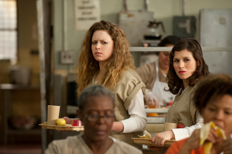 . Natasha Lyonne (L) and Yael Stone (R) in a scene from Netflix�s �Orange is the New Black� Season 2. (JoJo Whilden, Netflix)