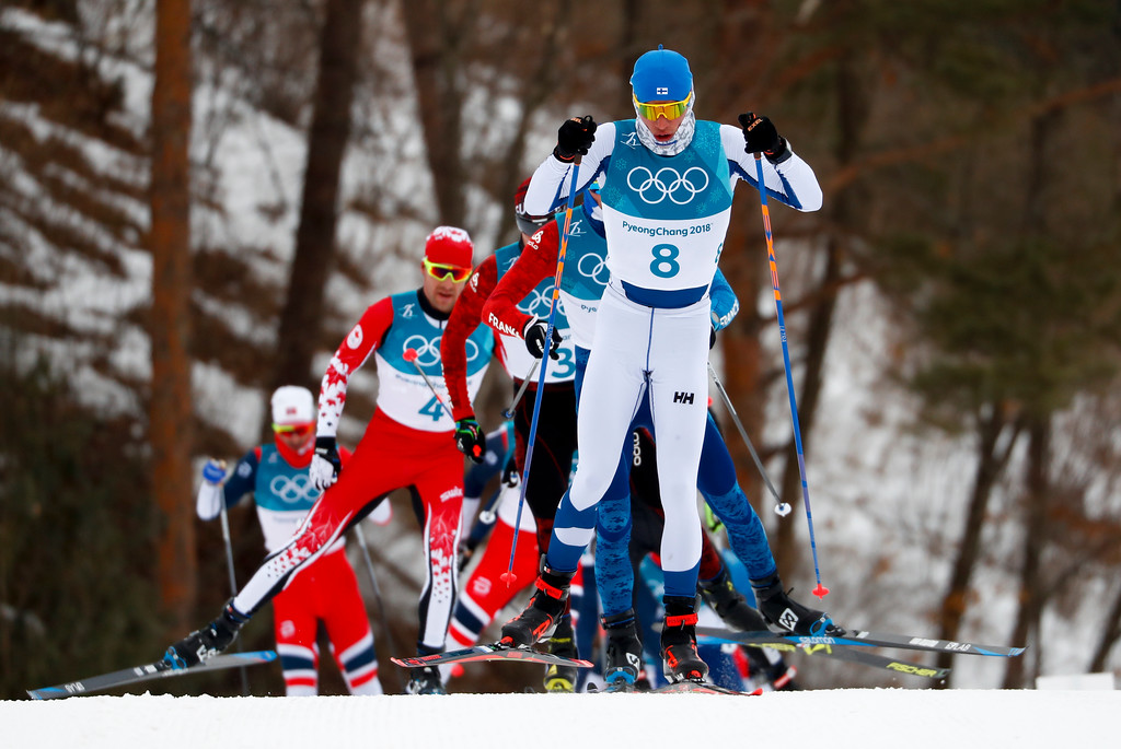 . Iivo Niskanen, of Finland, competes during the men\'s 15km/15km skiathlon cross-country skiing competition at the 2018 Winter Olympics in Pyeongchang, South Korea, Sunday, Feb. 11, 2018. (AP Photo/Matthias Schrader)