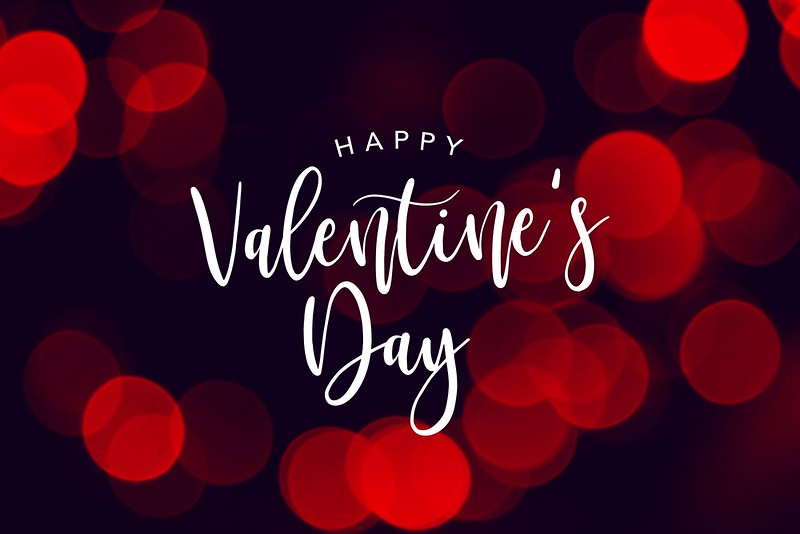 Happy Valentine's Day Celebration Text Over Red Duotone Bokeh Lights Background
