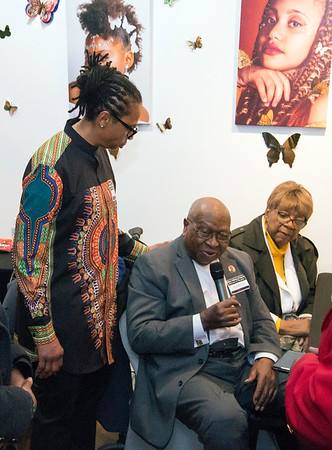 02/28/20 Wesley Bunnell | StaffrrTwenty five men were honored at Gallery 66 on Friday night for their involvement in the community as part of Black History Month. Long time civill rights leader Alton Brooks speaks.