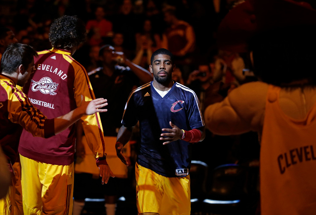 . Cleveland Cavaliers\' Kyrie Irving is introduced before an NBA basketball game Saturday, Nov. 30, 2013, in Cleveland. (AP Photo/Mark Duncan)