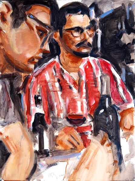 Untitled (men at table), acrylic on paper, 22 x 30 in, 2017