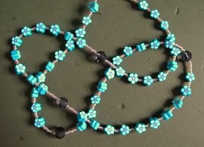 aqua & violet daisy rosary