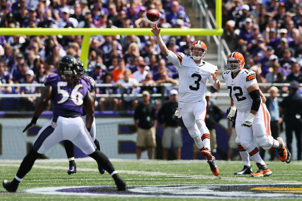 . Quarterback Brandon Weeden #3 of the Cleveland Browns throws a first half pass against the Baltimore Ravens at M&T Bank Stadium on September 15, 2013 in Baltimore, Maryland.  (Photo by Rob Carr/Getty Images)