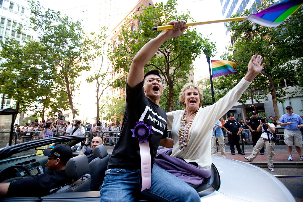 . SAN FRANCISCO, CA - JUNE 28:   Celebrity Grand Marshals Lt. Dan Choi, a graduate of West Point and Actress Cloris Leachman takes part in the 39th annual gay pride parade June 28, 2009 in San Francisco, California.  The parade drew hundreds of thousands of people to downtown San Francisco to celebrate gay, lesbian, bisexual and transgender pride. (Photo by David Paul Morris/Getty Images)